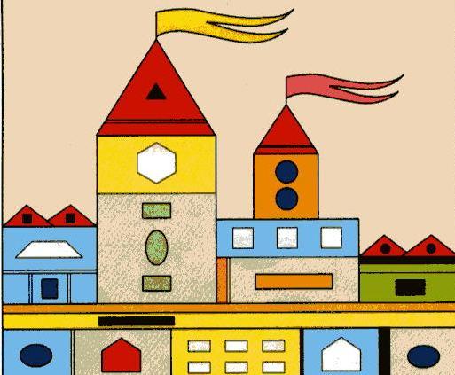 материал картинки города будущего из геометрических фигур опоссумы
