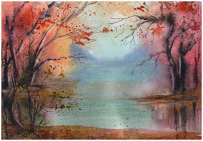поразительной пейзаж акварелью по мокрому картинки делом
