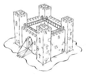 Картинки рыцарский замок карандашом
