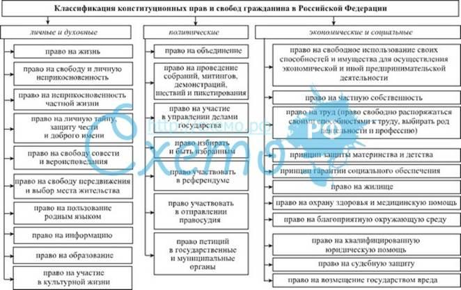 Основные виды прав, свобод и обязанностей граждан ...