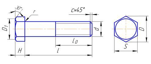 Состав и объем курсовой работы Студопедия Все необходимые размеры для вычерчивания болтов приведены в соответствующих таблицах ГОСТов Основные размеры болтов с шестигранной головкой нормальной